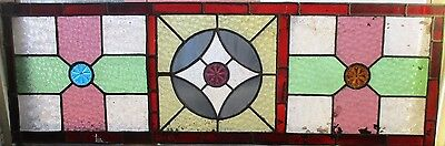 "Reclaimed Coloured leaded stained glass panels 44"" x 14 1/2"""