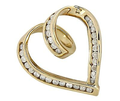 Women's .50 tcw Natural Diamonds Heart Pendant in 10k SOLID Yellow Gold
