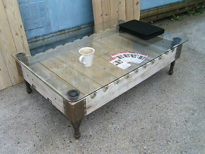 Industrial Vintage re-purposed French Rifle Gun pallet oak & glass coffee table