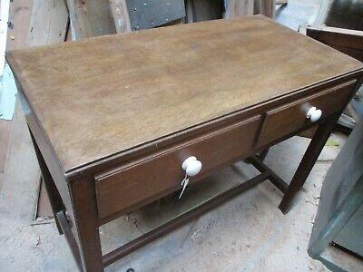 "Oak vintage sidetable or sideboard with drawers china handles 39""x20""x32"""