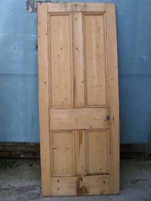 "Old Victorian reclaimed 4 four panel pine front door 32 3/4"" x 80 1/2"" x 1 5/8"""