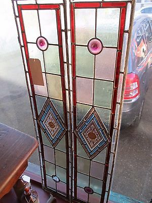 "Reclaimed PAIR Coloured painted leaded stained glass panels 43"" x 9"""
