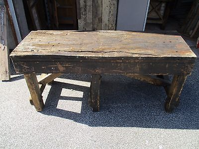 """Solid rustic pine vintage work workmans bench 64"""" x 22"""" x 30"""" tall"""