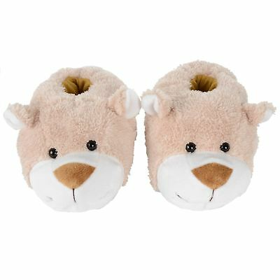 Gorgeous Girls Plush Teddy Bear Slippers With Non Slip Soles. Soft Warm & Comfy