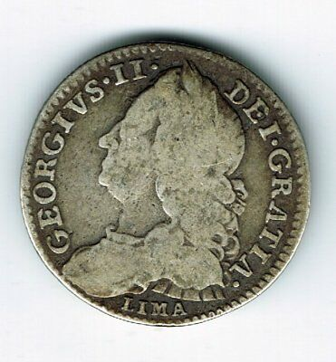 1746 Lima George II sterling silver sixpence 6d coin - 2.9g