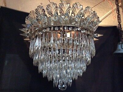 Vintage Crystal Waterfall Chandelier Marked Czechoslovakia 1920s Stunning