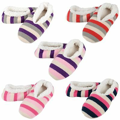 Womens Snoozie Stripe Knitted Snugg Ladies Slippers / Super Soft Sherpa Lining