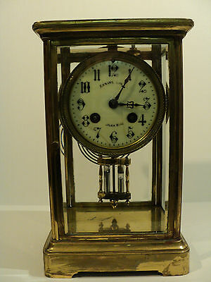 FRENCH CRYSTAL REGULATOR CLOCK, DOUBLE BARREL PENDULUM, c.1900