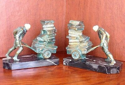 Rare Pair 1930 J.b. Hirsch Foundry Man Pushing Barrow Marble Bronze Bookends