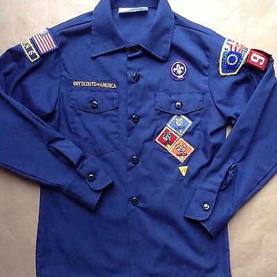 Boy Scouts of America Long Sleeve Cub Scout Uniform Shirt Youth Size M Blue
