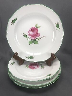 "(4) Meissen German Hand Painted Green Trim Strewn Pink Roses 8 1/2"" Lunch Plates"