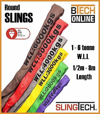 Round Lifting Sling SLINGTECH 1T-6T 0.5M-8M AS4497 Test Certificate Colour Coded