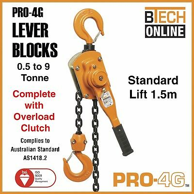 Lever Block 4G with Overload Clutch 0.8T-9T 1.5M Australian Certified Test Cert