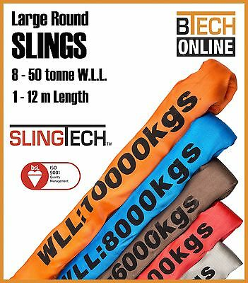 Round Lifting Sling SLINGTECH 8T-50T 1M-12M AS4497 Test Certificate Colour Coded