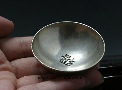 China Decorated Old Handwork Tibet Silver Carved Pair Dragon Bowl NH02