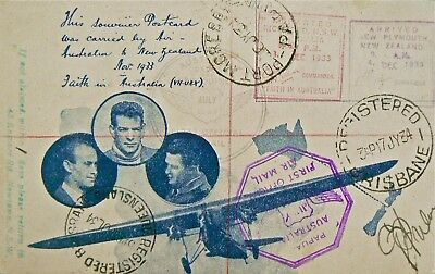 Australian Flight Cover - July 1934.special Ulm Postcard.(#348 1933).overprinted