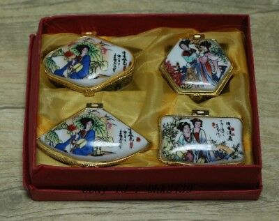 Chinese painting white Porcelain beautiful woman Toothpick box set