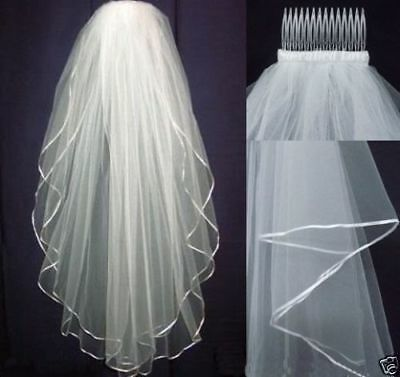 White/Ivory Wedding Veil Bridal 2 Layer Veils Satin Edge With Comb