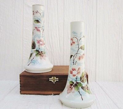 Pair of Vintage Bristol Glass Vases - Hand Painted Matching Floral Vases