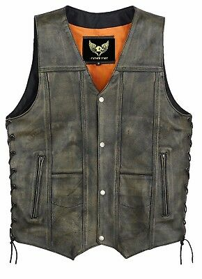 Men 10 pocket distressed brown vintage motorcycle biker leather vest fast ship