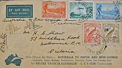 Australian Flight Cover - July 24 1934.aamc 395.melb-Lae-Melb.signd + Vinigrette