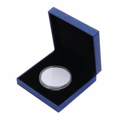 Blue Coin Medal Presentation Display Box Adjust Case with Capsule Gift