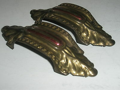 Vintage Antique Drawer Bin Pulls Brass Original Red Paint Art Deco Set of 2