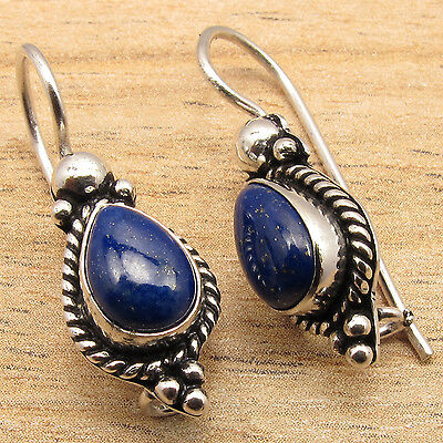 Real LAPIS LAZULI Gems Ethnic Tribal Jewelry Cute Earrings ! 925 Silver Plated