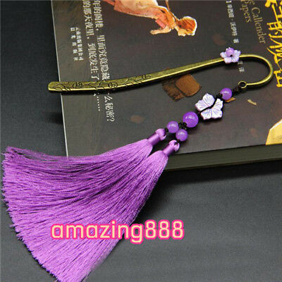 1pc beautiful ancient Chinese style purple tassel bronze bookmarks stationery