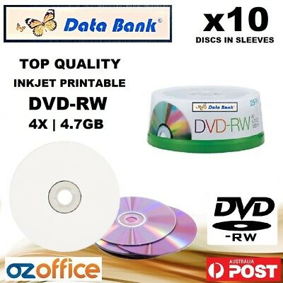10 x Data Bank DVD-RW 4X 4.7GB Blank Discs DVD Re Writable Printable Disc