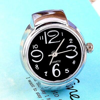 Very Smart  Ladies // Girls Black Quartz Ring Watch With Flexible Fit All Band