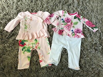 Ted Baker Baby Girl x2 Playsuit / Outfit / Babygrow - Age 6-9 months