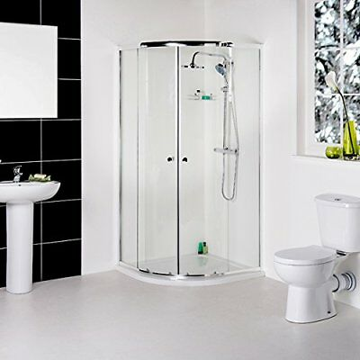 Modern Bathroom Suite With 900mm Quadrant Shower Enclosure, Close Coupled WC