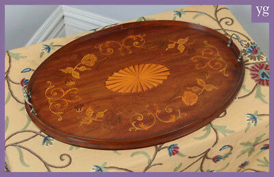 Antique Edwardian Mahogany Marquetry Inlaid Oval Serving Drinks Butlers Tray