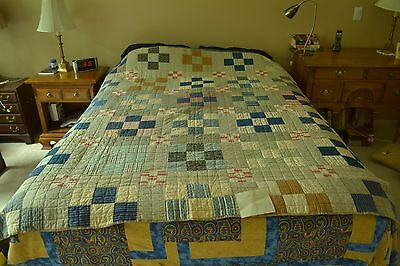 "1910 Antique Hand Quilted  9-Patch Quilt Front made from Shirting, 66"" x 77"" M42"