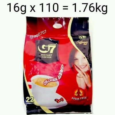 110 x16g Vietnam Trung Nguyen G7 Instant Coffee 3 in 1 COLLAGEN ADDED SUGAR FREE