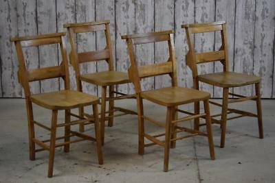 Set Of 4 Vintage Antique Chapel Church Cafe Bar Kitchen Dining Chairs