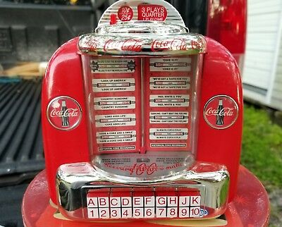 """COCA-COLA TABLETOP JUKEBOX MUSICAL BANK, 1995, 6"""" H x 5 3/4"""" L x 3"""" W by ENESCO"""
