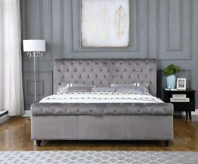 Sienna silver Crushed Velvet Fabric Upholstered Bed Frame with 2 draw