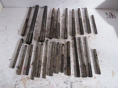 Lot of 24 HSS Reamers Lathe Machinist Straight Morse Taper Metal USED