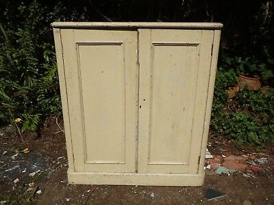 """Antique Painted Pine Cupboard 35""""w School Type. Solid, Sturdy, Shelves, Bookcase"""