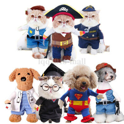 Pet Cat Dog Halloween Cosplay Costume Superman Batman Spiderman Pirate Clothes