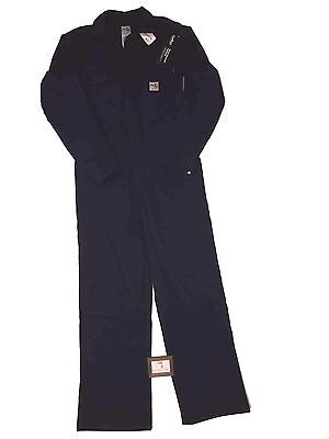 "Carhartt Mens Size 40"" Regular Flame Resistant Work Coverall Navy Unlined Nwt"