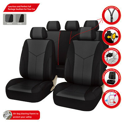 Universal Car Seat Covers Leather Black Grey Fit Car Truck SUV Split Rear Airbag