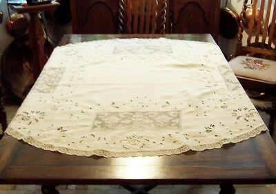 """Antique 52""""  Round LinenTable Cloth Open Embroidery Cut Work"""