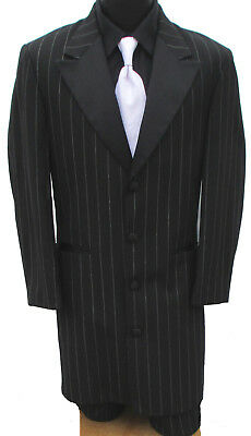 Long Black Pinstriped Tuxedo Zoot Suit & Pants Frock Gangster Halloween Costume