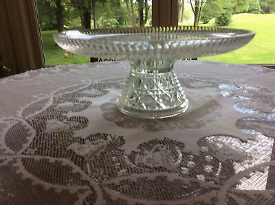Antique Cut Crystal Pedestal Cake Plate excellence condition