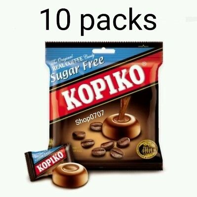 10 Packs x75g KOPIKO *SUGAR FREE* Coffee extract hard Candy Strong & Rich coffee