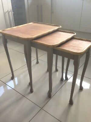 Vintage Wood shabby chic nest of tables Painted In Hurricane Vintage Chalk -Grey