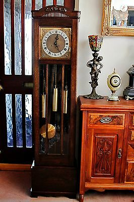 Antique German Grandmother 8-Day Oak Clock with Westminster & Whittington Chimes